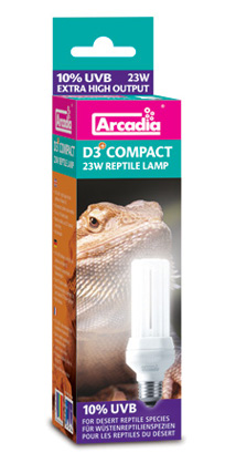 Arcadia D3 compact reptile lamp 23W 10.0 UVB